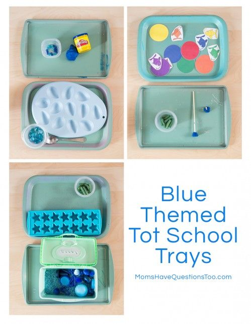 Blue Themed Tot School Trays - Another fun set of color-themed tot trays.