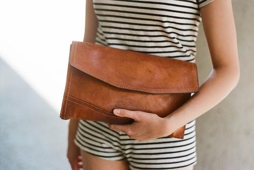 Clutch.  #bag #handbag #leather #stripes.