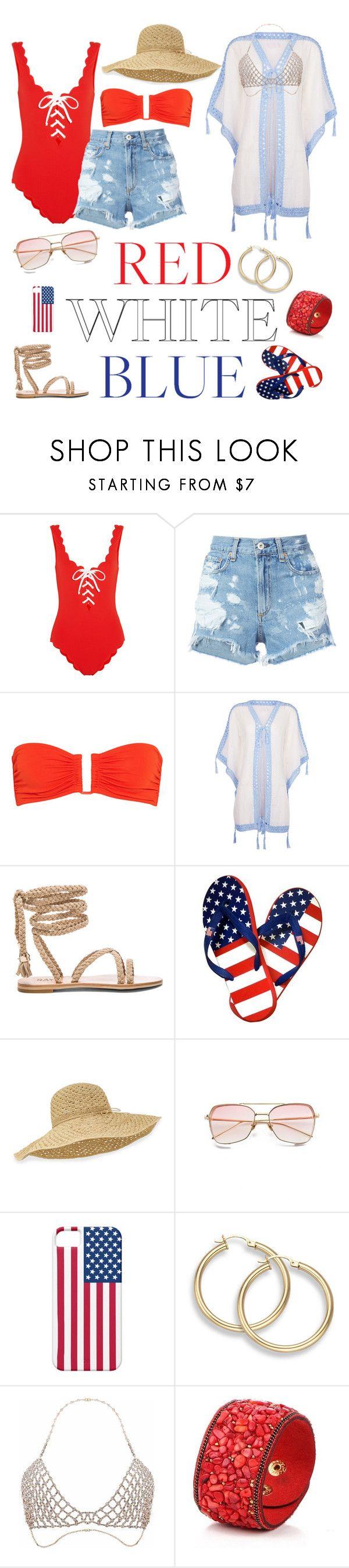 """Pool Party in the USA"" by stoofanie ❤ liked on Polyvore featuring Marysia Swim, rag & bone/JEAN, Eres, Anna Kosturova and Helen Kaminski"