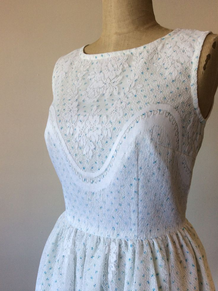 SOLD! Upcycled vintage inspired dress, made from vintage cotton fabric and lace.