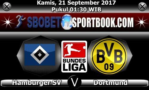 SBOBETSPORTBOOK.COM - Artikel ini akan membahas statistik pertandingan Bundesliga Jerman pekan ke 5 yang mempertemukan Hamburger SV melawan Borussia Dortmund di Volksparkstadion (Hamburg), dimana pertandingan seru ini akan berlangsung seru pada hari Kamis (21/09/17) pukul 01:30 WIB dini hari.