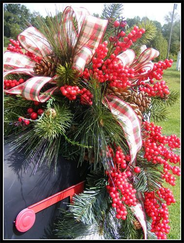 Christmas Mailbox Swag, Christmas Holiday Mailbox Cover, Christmas Wreath, Petal Pusher's Wreaths, Free Shipping in the United States! by petalpusherswreaths on Etsy https://www.etsy.com/listing/167890006/christmas-mailbox-swag-christmas-holiday