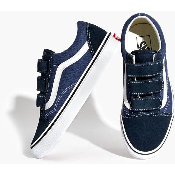 MADEWELL Vans® Unisex Old Skool Velcro® Sneakers ($75) ❤ liked on Polyvore featuring shoes, sneakers, blue navy white, high top trainers, hi tops, unisex shoes, velcro sneakers and velcro shoes