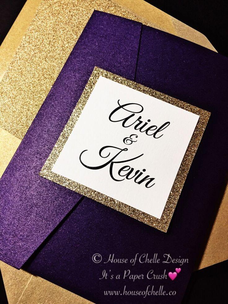 Gold Glitter Pocket Wedding Invitation