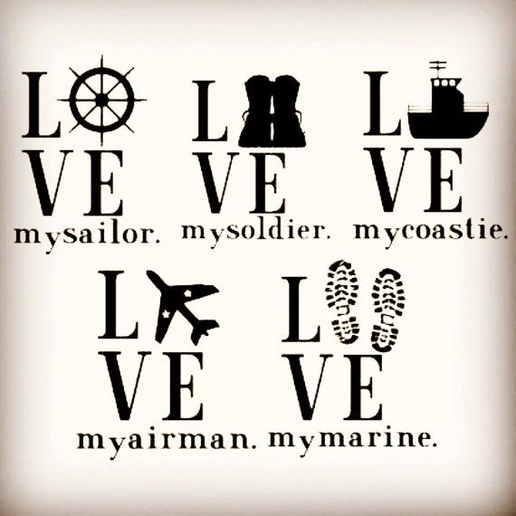 Military Decals : Love My - Air Force, Army, Coast Guard, Marines, Navy, or Customize Your Own