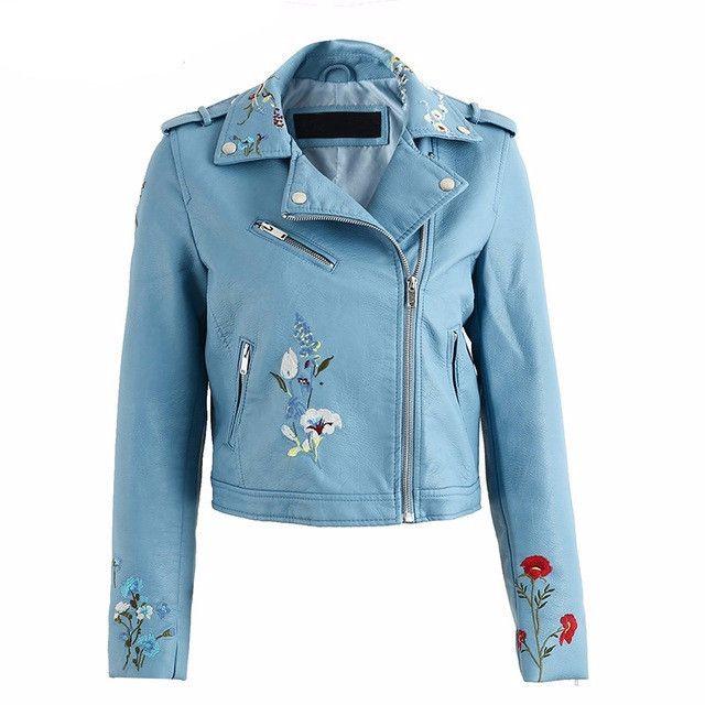 Embroidered Biker Jacket