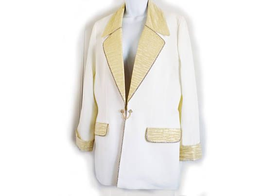 1980s designer GLAM Jacket by Cache / Solini / White/ Gold /