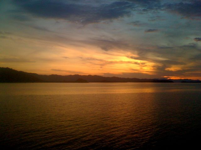 Spectacular sunset greets us on arrival at Lembar Harbour Lombok.