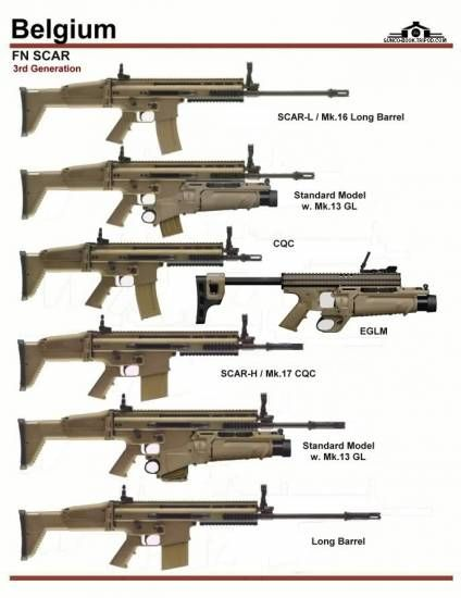 Most of SCAR weapons family. Lacks PDW (Personal Defense Weapon) and SSR (Sniper Support Weapon)