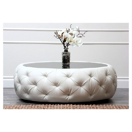 Roseville Round Leather Coffee Table - Abbyson Living, White - Более 25 самых популярных идей на тему «Leather Coffee Table» на