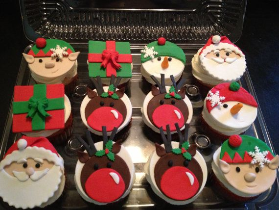 Christmas Fondant Cupcake Toppers 6 by PeaceLoveandCakeNY on Etsy, $14.99