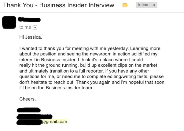 follow up email after interview examples