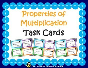 Engage your students in properties of multiplication practice with this set of 32 task cards. Students work to identify which of five multiplication properties the problem is demonstrating:1) Commutative2) Associative3) Distributive4) Identity5) ZeroFourteen pages includes 32 task cards, student recording sheets, and answer keys.Like this product?