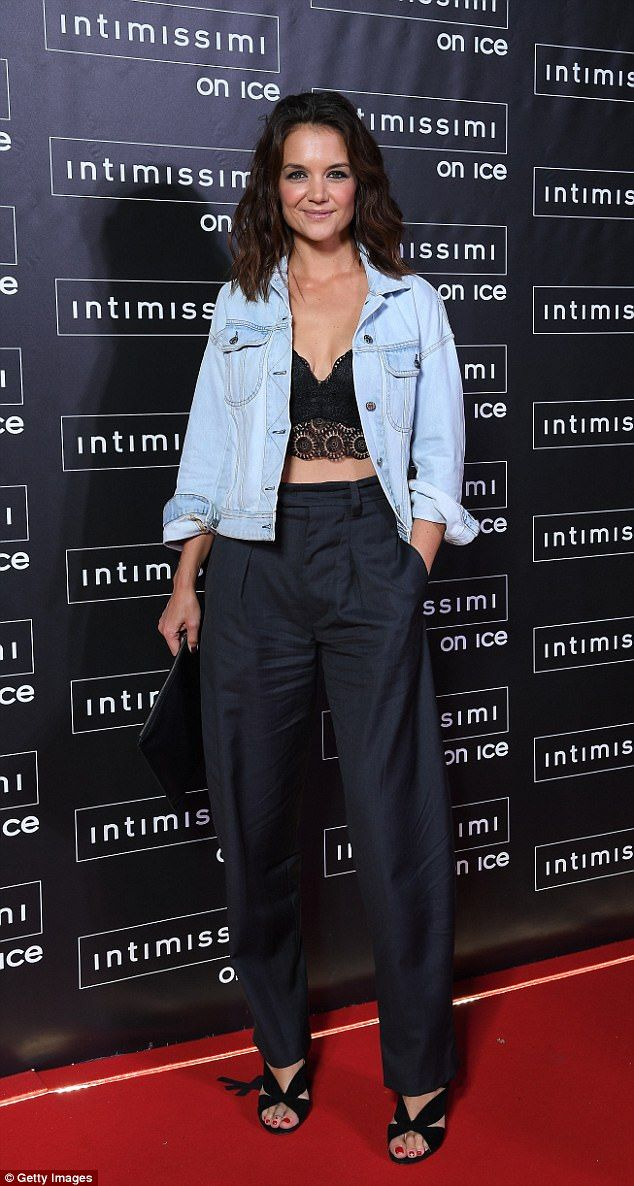Beautiful: Katie Holmes, 38, looked amazing on the red carpet of Intimissimi on Ice Friday in Verona, Italy at the Arena