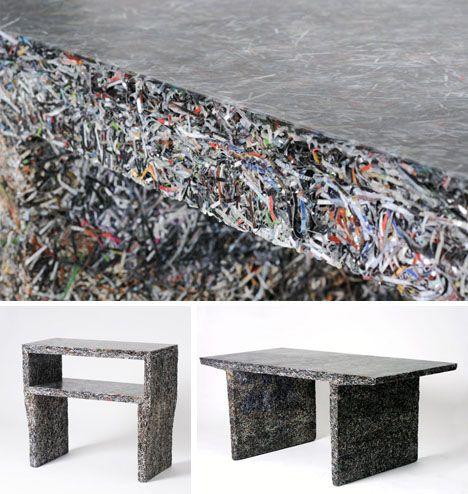 Shredded documents + molded resin = amazing furniture (dornob design).