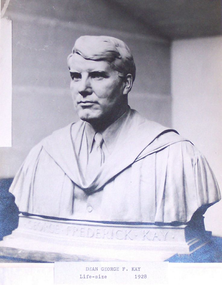 Dean George F. Kay, 1928.  Stone sculpture by Harry E. Stinson