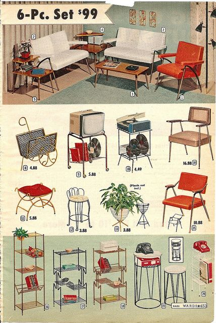 !!! mid century metal furniture.  montgomery ward summer 1959 catalog.