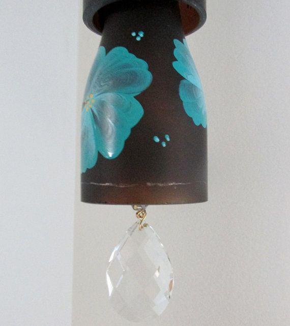 Carillón de viento de cristal reciclado mini por LindasYardArt