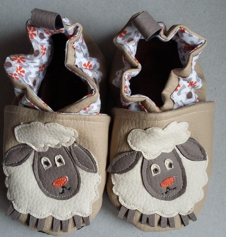 """haussons simili cuir 20 /24 mois """"le petit mouton"""" : Mode Bébé par c-mipolekfait-o-fil-d-toile"""
