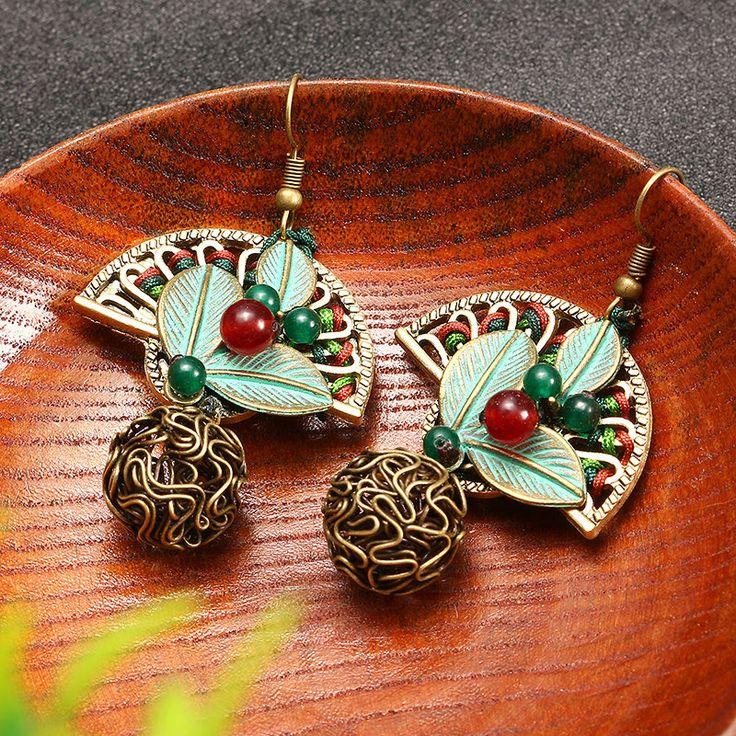 Ethnic Cute Earrings Sector Agate Ball Earrings