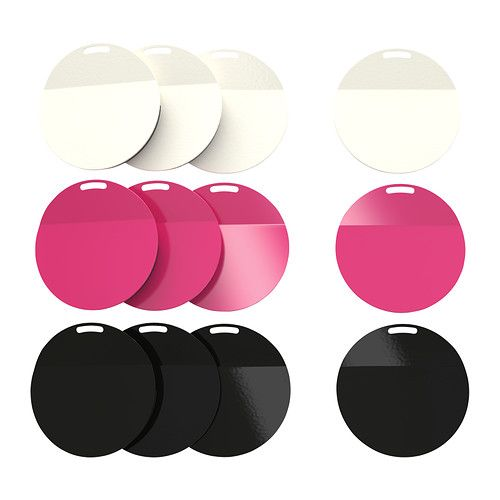 """SPONTAN - Magnet, assorted colors from Ikea - $2.99 / 4 pack - Article Number:701.594.83 -->  Not available to purchase online, has to be at a local store.  Product dimensions: (SMALL) Diameter: 2 ¼ """" - Package quantity: 4 pack OR (LARGE) Diameter: 6 cm - Package quantity: 4 pack - (BOTH) Designer: K Hagberg/M Hagberg"""