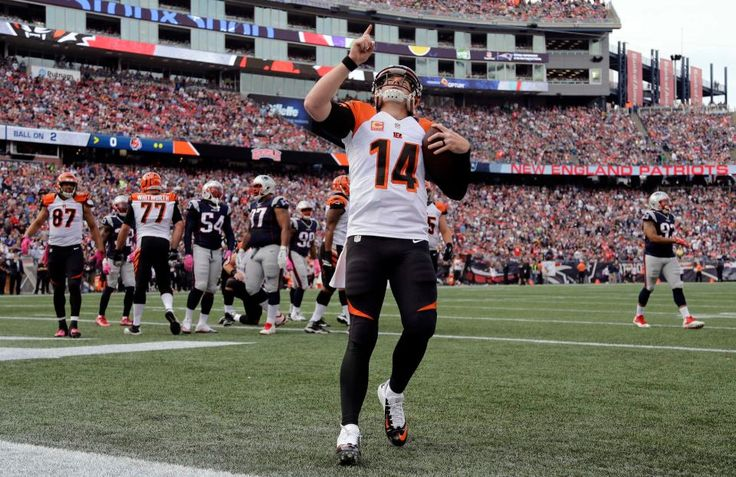 Bengals vs. Patriots:     October 16, 2016  -  35-17, Patriots  -     Cincinnati Bengals quarterback Andy Dalton (14) celebrates his running touchdown against the New England Patriots during the first half of an NFL football game, Sunday, Oct. 16, 2016, in Foxborough, Mass.