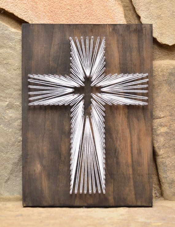 Cross String Art, Wood Decor, Religious Art Decor, Rustic Wood Decor