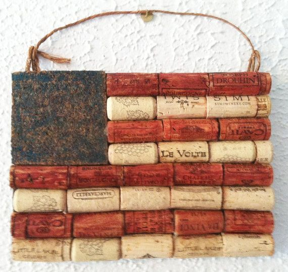 American flag wall hanging made from recycled corks via Etsy