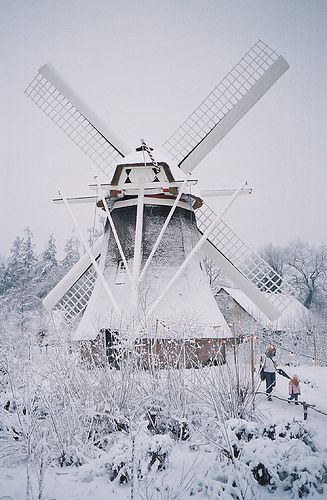 windmill in winter at the Nederlands Openluchtmuseum (Netherlands Open Air Museum)