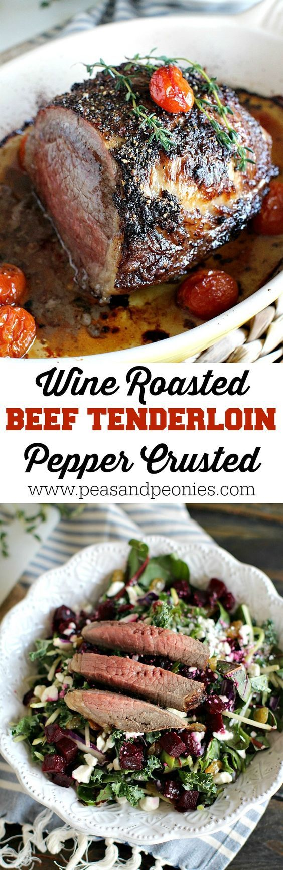 Garlic and Wine Roasted Beef Tenderloin with a peppery crust is served with juicy roasted tomatoes and Eat Smart Beets