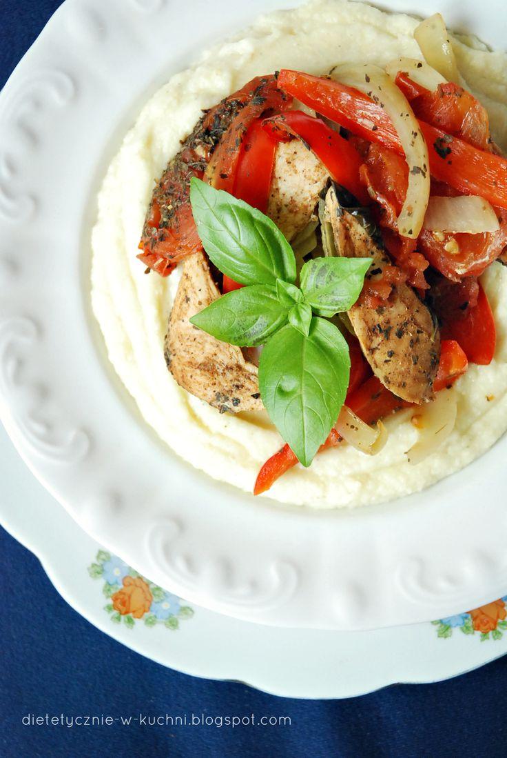 Moje Dietetyczne Fanaberie: Pieczony kurczak z warzywami na musie jaglano - ka...