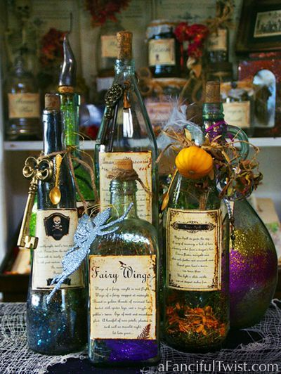 Spells & Potion bottles from recycled wine, liquor, various alcoholic beverage holders.