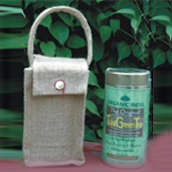 Handy Natural Jute Gift Bag -- This fashionable bag made of natural jute comes filled with your choice of any 100 gm tin of ORGANIC INDIA Tulsi Tea - The Original Tulsi, Tulsi Ginger, Tulsi Green Tea or Tulsi Chai Masala.