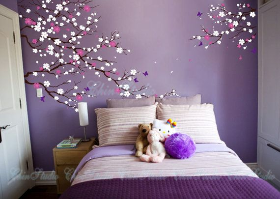 Nursery Wall Decal Kids Vinyl Decal-Cherry blossom tree wall decals with butterfly wall stickers home decor