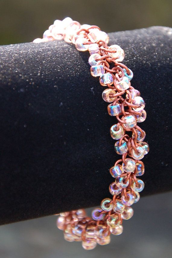 Shaggy Chainmaille Bracelet With Cream Soda Glass Seed Beads by Enchanted Loot.