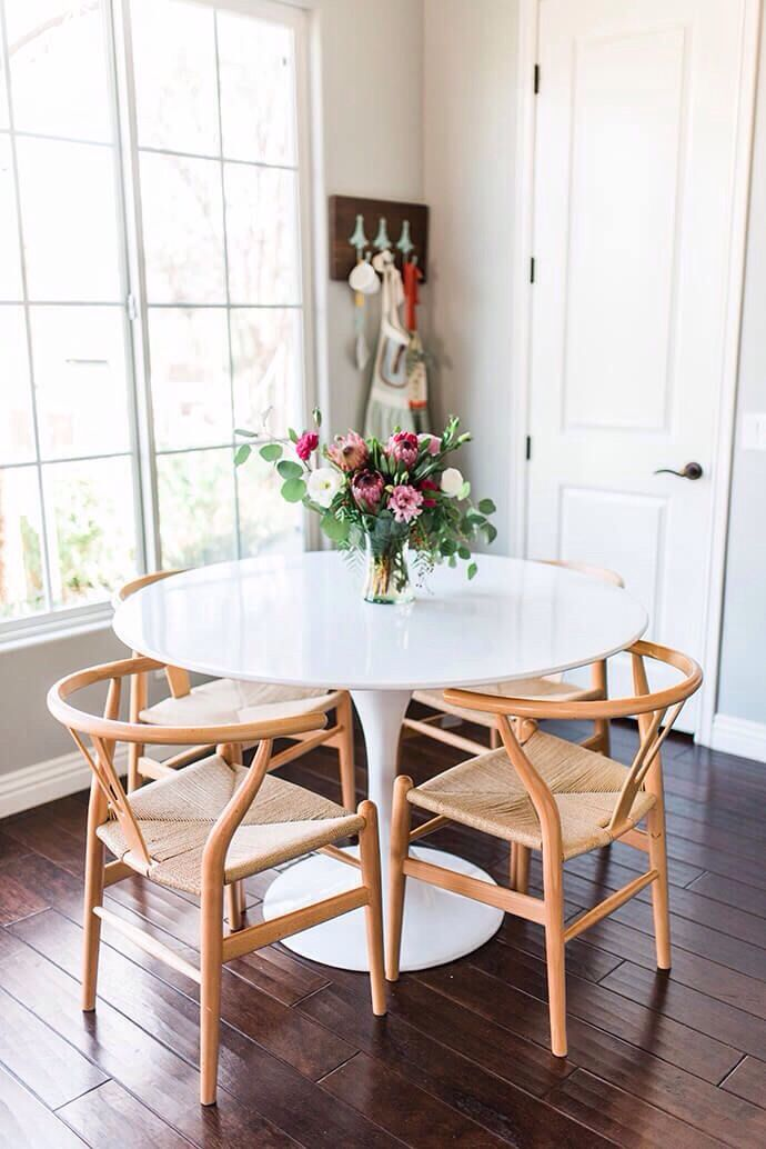 small and cute white tulip table and four wishbone chairs table and room - Dining Tables For Small Spaces