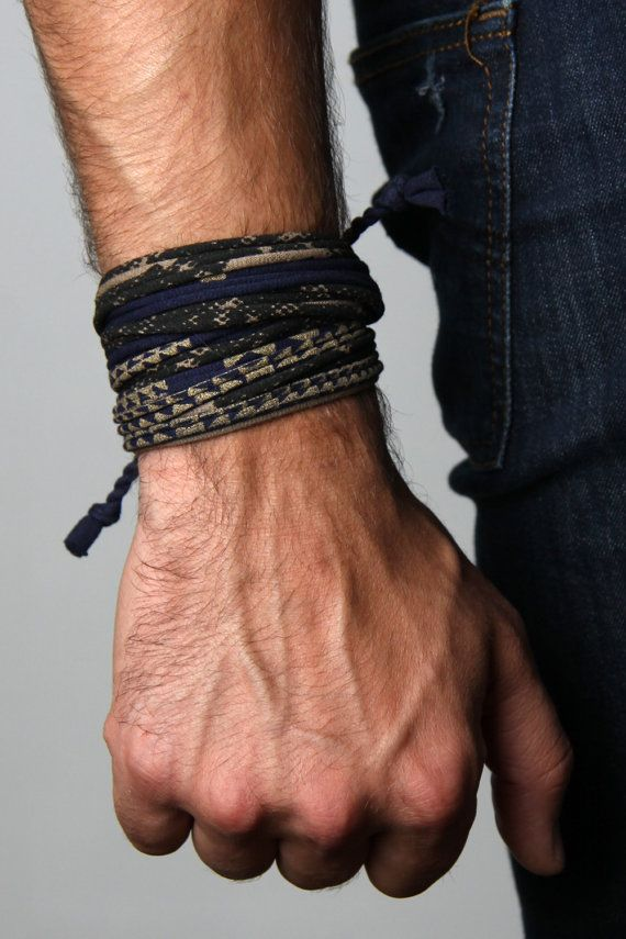 Hand Printed and Handmade bracelet by Necklush. This is a mens or womens bracelet, made with cotton and antiqued brass finishing. Made in the USA by