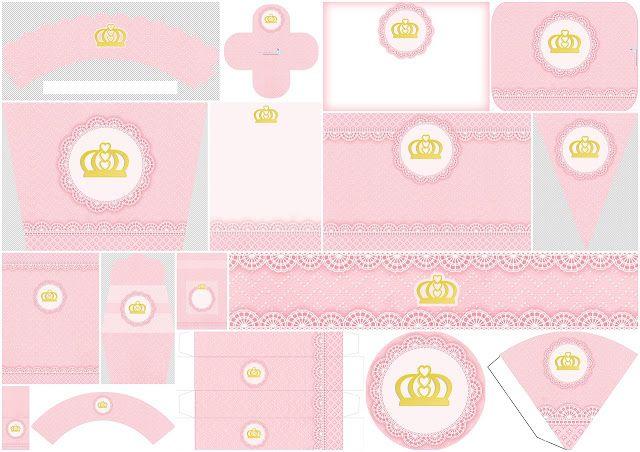Bello Kit de Corona Dorada con Fondo de Encaje Rosa  para Imprimir Gratis.