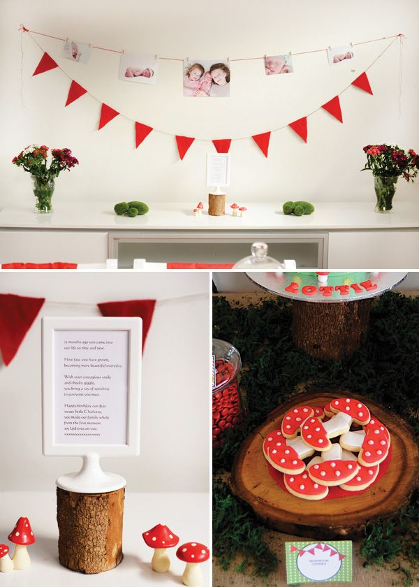 little red riding hood birthday party with toadstool cookies, red garland, oss covered rocks, poem and photo bunting