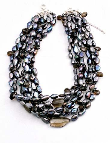 multi strands smokey quartz with freshwater pearl necklace in peacock black