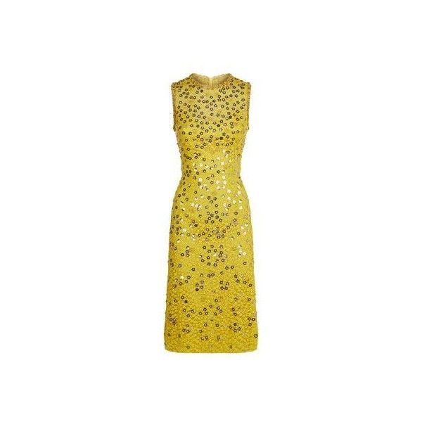 Jenny Packham Dandelion Dress (73 760 UAH) ❤ liked on Polyvore featuring dresses, yellow dress, sleeveless cocktail dress, midi cocktail dress, sleeveless dress and special occasion dresses