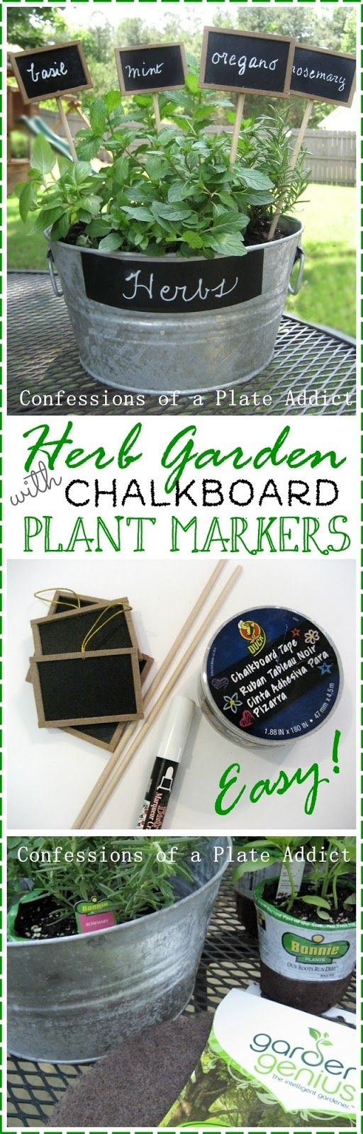 Mini Herb Garden with Chalkboard Plant Markers