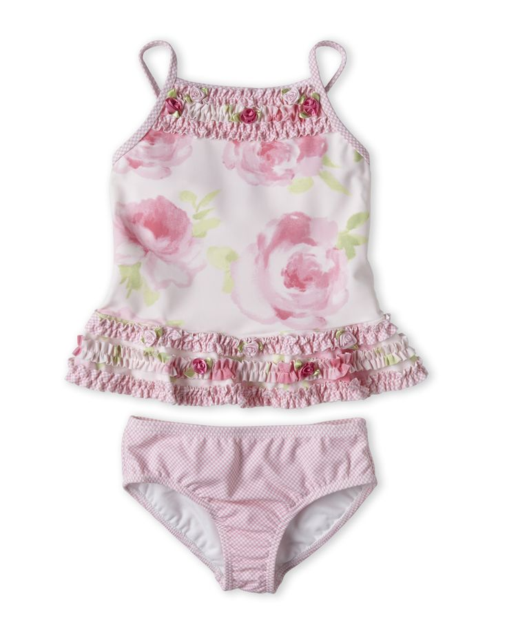 Kate Mack For Biscotti (Toddler Girls) Floral Ruffle Tankini Swimsuit