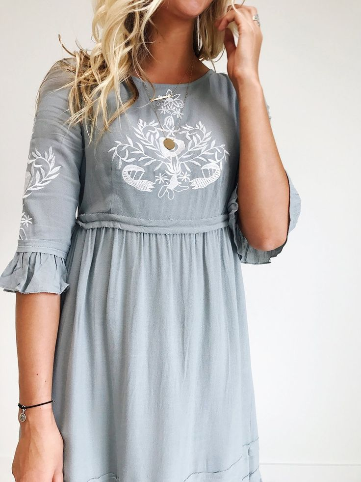 Embroidered Dress with Bell Sleeves | ROOLEE