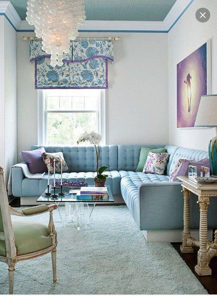 Light blue  lavender living room  Blue Room Design Shade