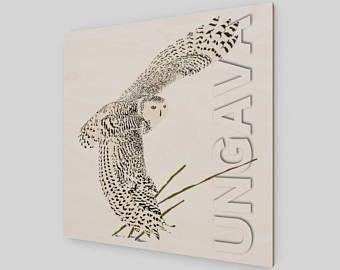 Collection Ungava: le harfang des neiges, symbole aviaire du Québec. Peinture numérique originale imprimée sur bois.
