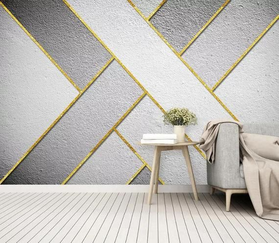 3d Concise Pattern Gngn577 Wallpaper Mural Decal Mural Photo Etsy In 2021 Modern Wallpaper Accent Wall Wall Paint Patterns Geometric Wall Paint