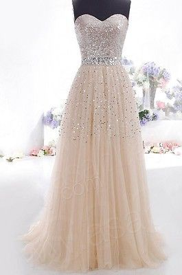 Champagne-Abschlussball-Kleider Lange Abend-Partei-formale Kleider Größe 6-16 | eBay