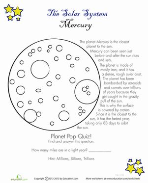 Fourth Grade Earth & Space Science Worksheets: Mercury Facts