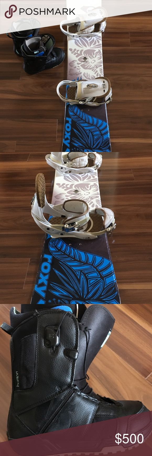 Roxy Snowboard - Burton Boots & Bindings Used. Slightly worn with scratches. Size 8.5 Burton boots and large Burton bindings. Snowboard is size 151. Roxy Other